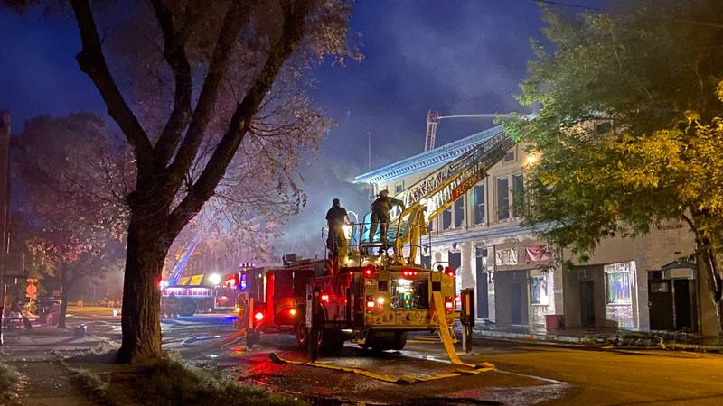 Firefighters battling a structure fire in downtown Florence early on the morning of Aug. 5, 2021.