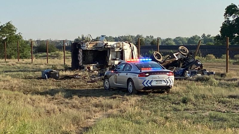 Two vehicles can see flipped over off the roadway near the PPIR interstate exit on June 22,...