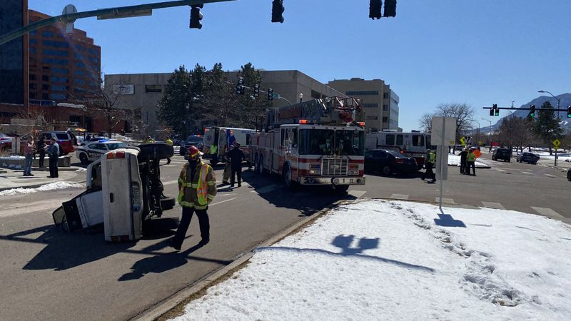 Several lanes of Colorado and Cascade Ave. are closed due to the crash.