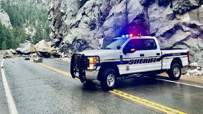 A rockslide forced the closure of a road through Boulder Canyon on 4/27/21.