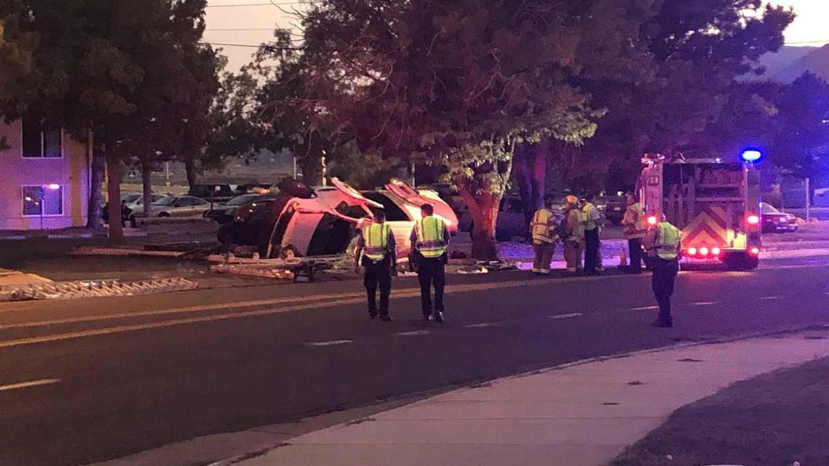 A serious crash closed lanes on Jet Wing Drive in Colorado Springs on Saturday.