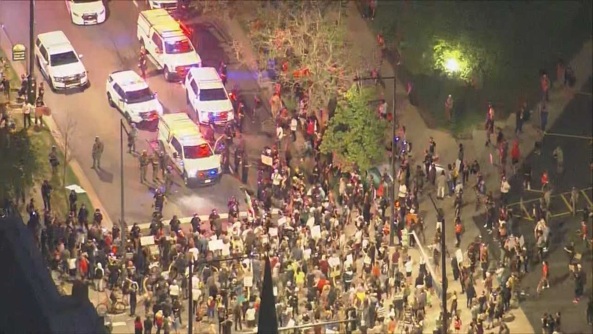 Protesters flooded the streets of Denver on Thursday 5/28/20 in response to the death of George Floyd.  Photo from CBS Denver (KCNC)