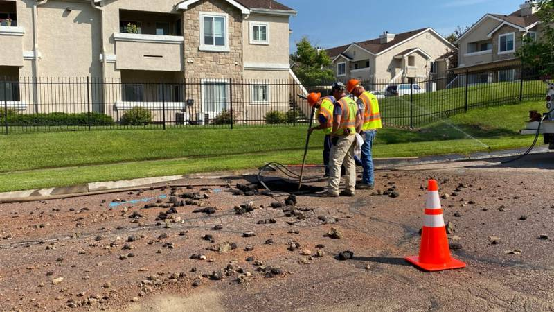 Crews are currently working on a water main break near Cheyenne Meadows Road and Highway 115 in...