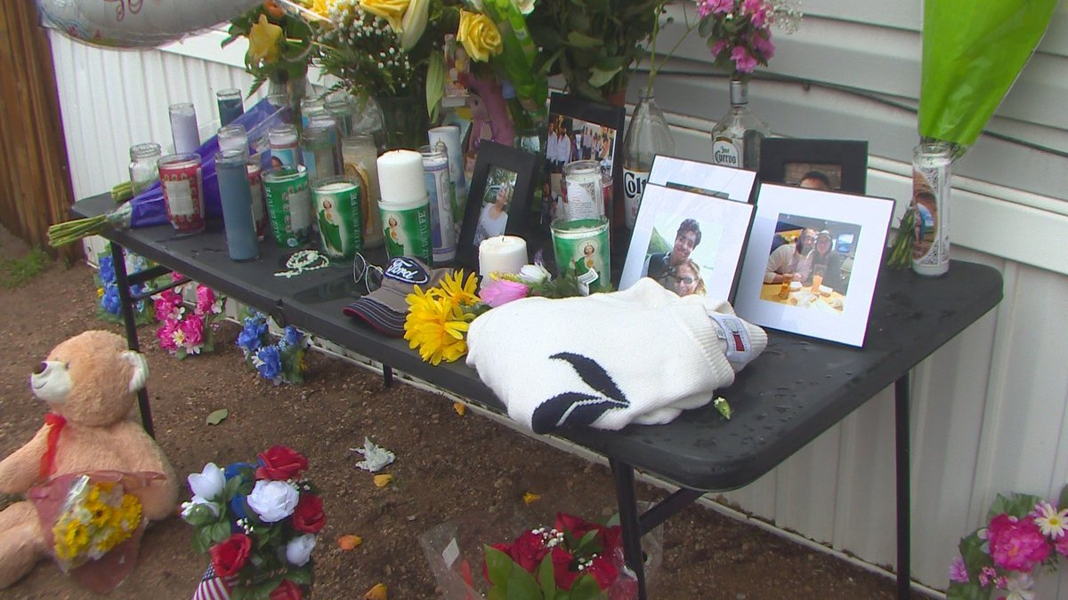 A memorial continues to grow outside the home in the Canterbury six innocent people were gunned...