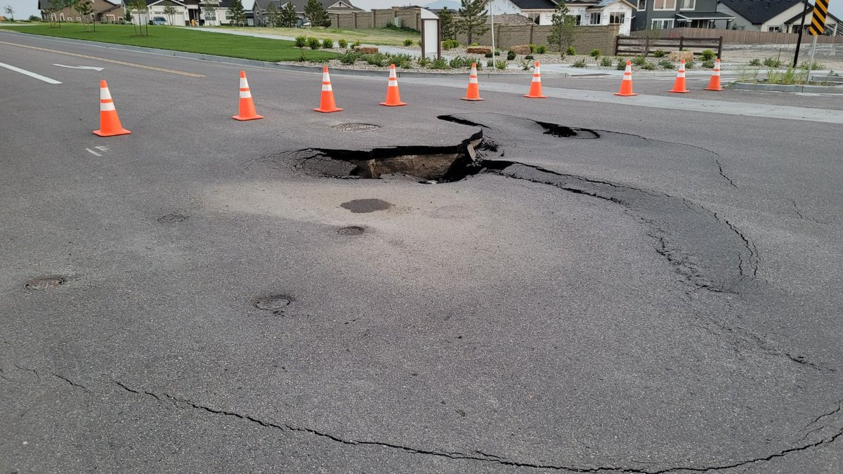 A daytime look at a major sinkhole in a north Springs neighborhood.