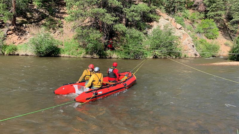 """""""High water levels and no river crossing required the Tatanka Hotshots be transported across..."""