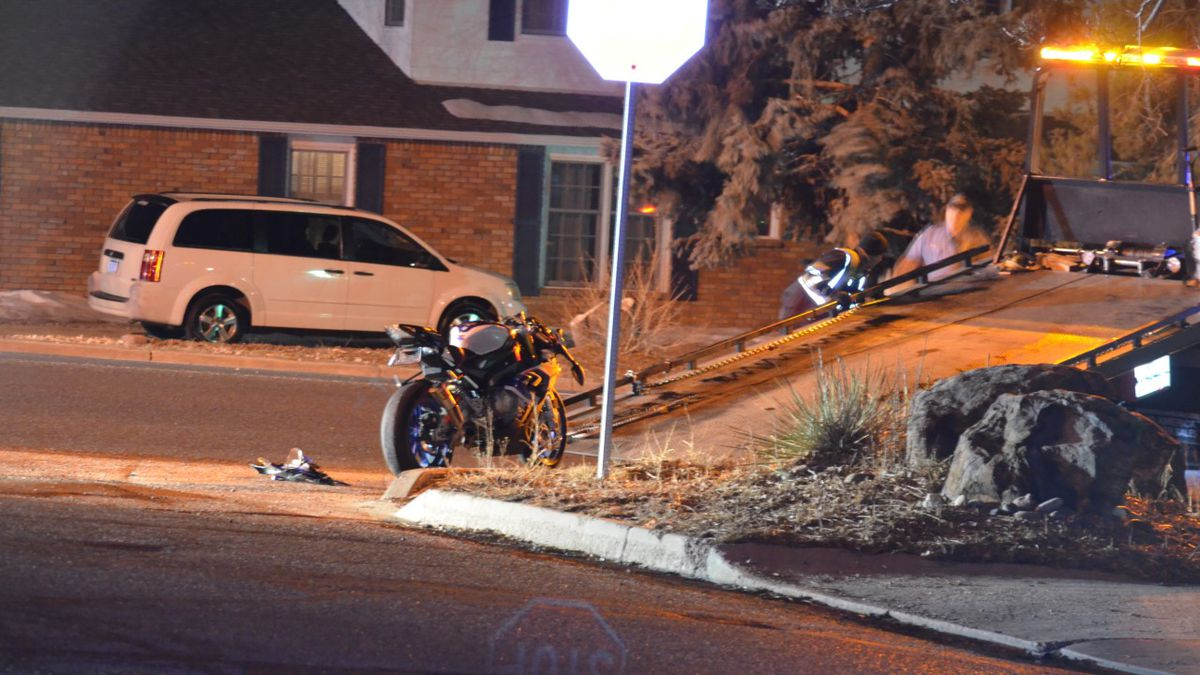 The aftermath of a single motorcycle collision at the corner of Constitution Avenue and...