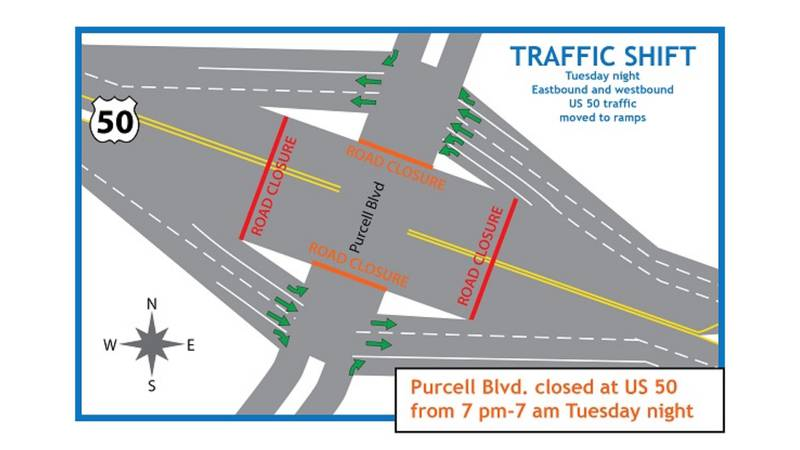 Beginning Tuesday evening, motorists traveling eastbound and westbound on US 50 will be...
