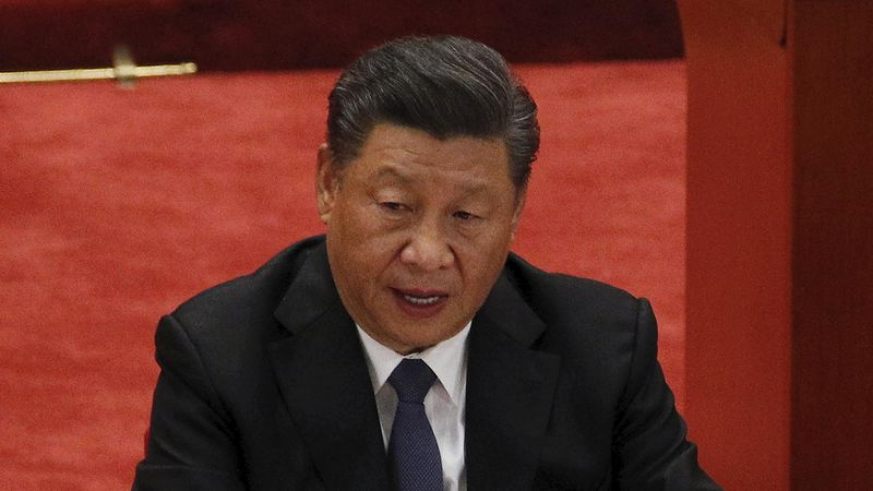 In this Oct. 23, 2020, file photo, Chinese President Xi Jinping delivers his speech at the...