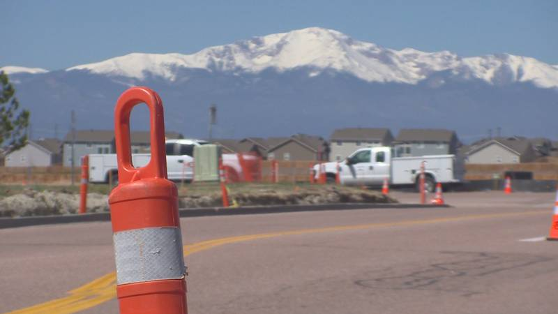 Construction at the intersection of Eastonville and Meridian in Falcon, Colo.