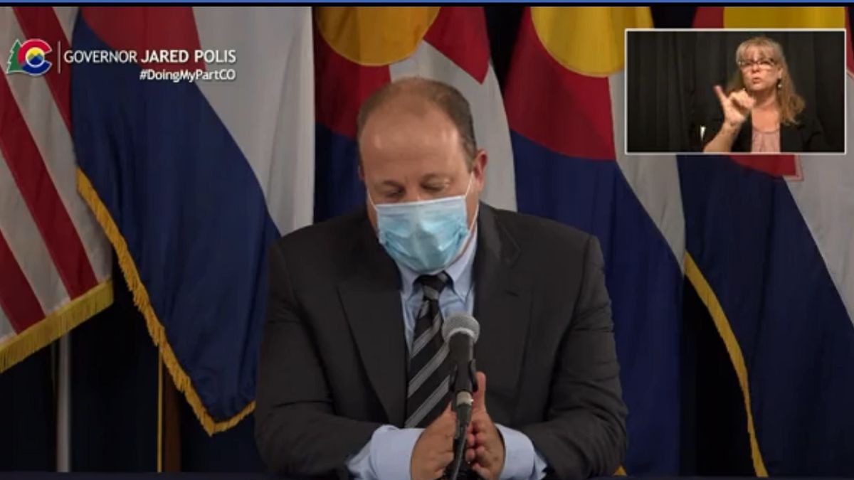 Gov. Jared Polis gives an update on the COVID-19 response on Aug. 18.