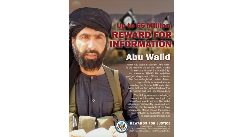 This undated image provided by Rewards For Justice shows a wanted posted of Adnan Abu Walid...