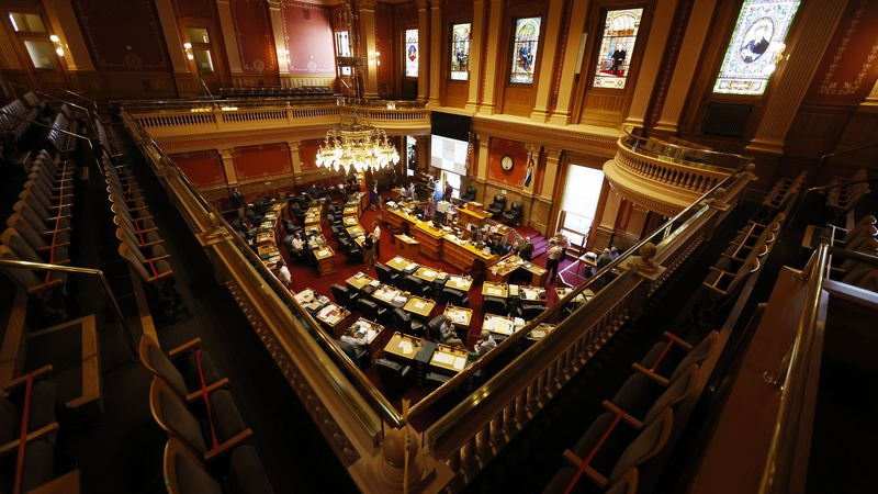 FILE - An overhead view of the Senate chambers as lawmakers try to wrap up the session in the...