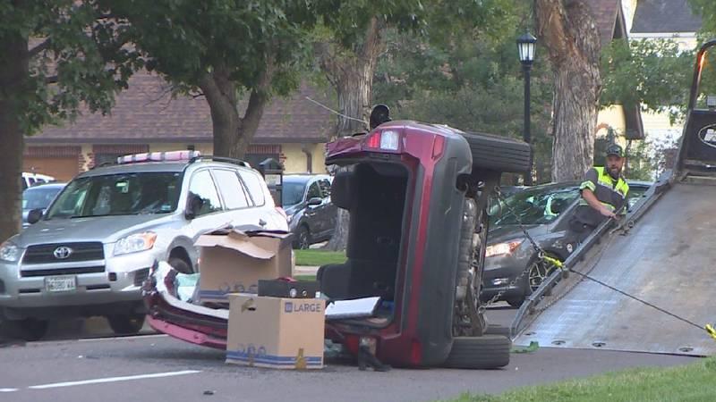 Rollover crash in Colorado Springs 9/7/21.
