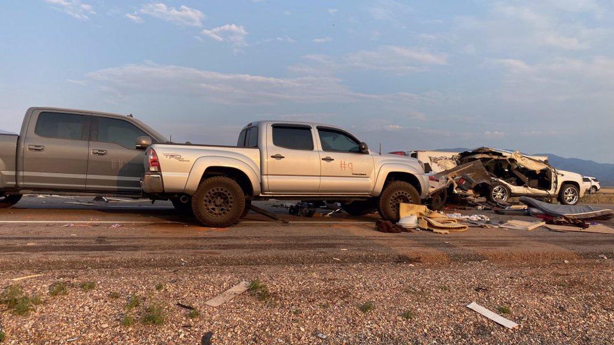 More than 20 vehicles crashed on I-15 in Utah after a sandstorm Sunday, July 25, 2021.