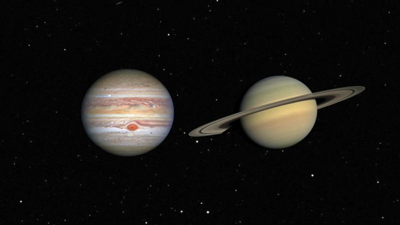 The heavenly meeting of the two biggest worlds in our solar system is an extremely close one.