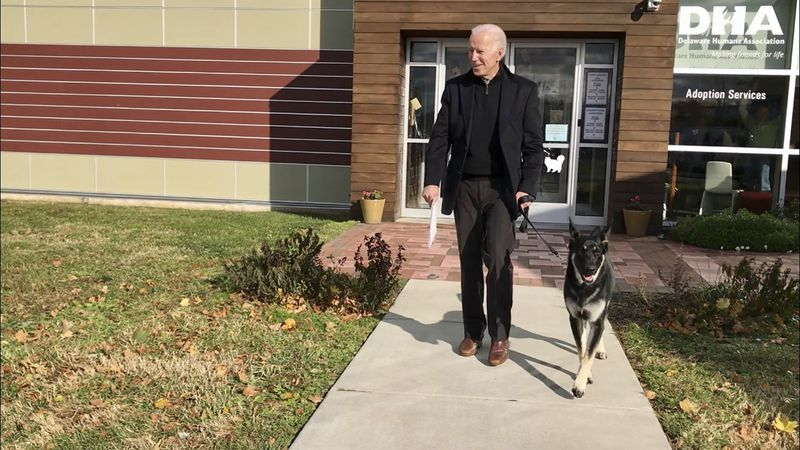 This Nov. 16, 2018, photo, file provided by the Delaware Humane Association shows Joe Biden and...