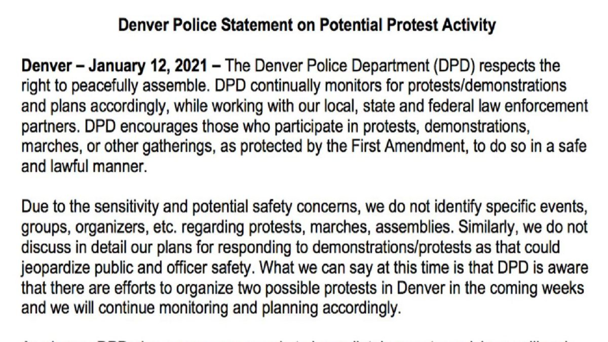 Denver Police Statement 1/12/21.