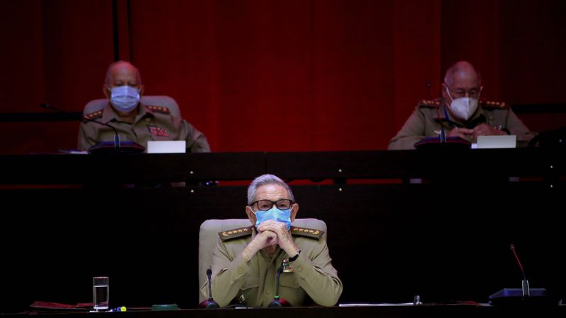 Raul Castro, first secretary of the Communist Party and former president, attends the VIII...