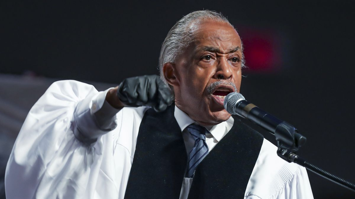 In this June 9, 2020 file photo, the Rev. Al Sharpton speaks during the funeral for George Floyd at The Fountain of Praise church in Houston. A national commemoration of the 1963 civil rights March on Washington is being reconfigured to comply with coronavirus protocols in the District of Columbia. This comes amid widespread protests and unrest over the police killings of Black Americans. Although many marchers will arrive via charter buses from surrounding communities on Aug. 28, the Rev. Al Sharpton will ask others to join satellite marches in states that are considered hot spots for COVID-19.