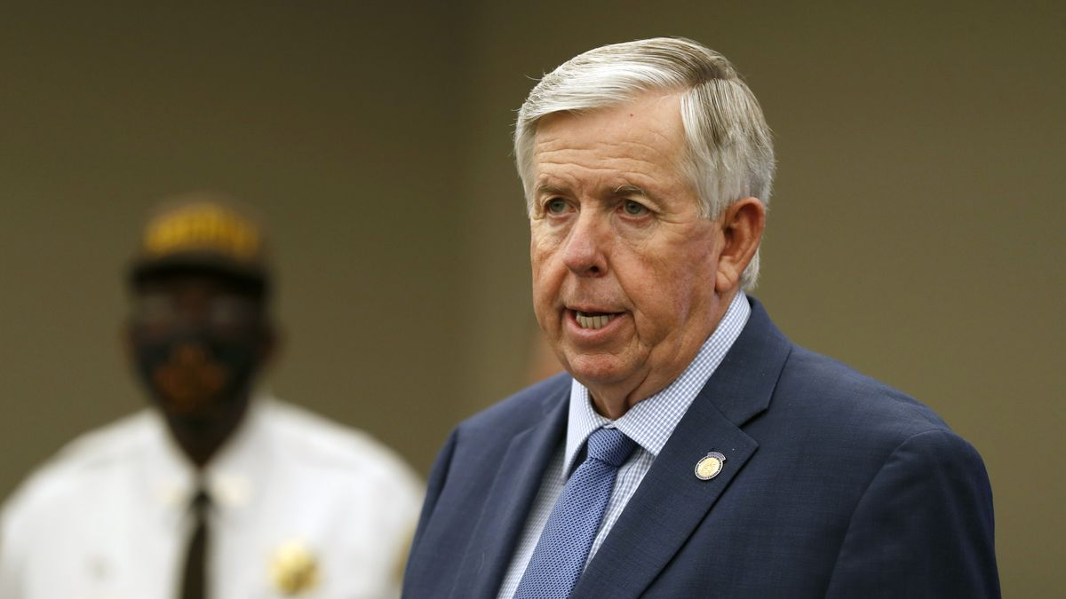 FILE - In this Aug. 6, 2020 file photo, Missouri Gov. Mike Parson speaks during a news conference in St. Louis. Gov. Parson, a Republican who has steadfastly refused to require residents to wear mask, and First Lady Teresa Parson tested positive for COVID-19, Wednesday, Sept. 23, 2020.