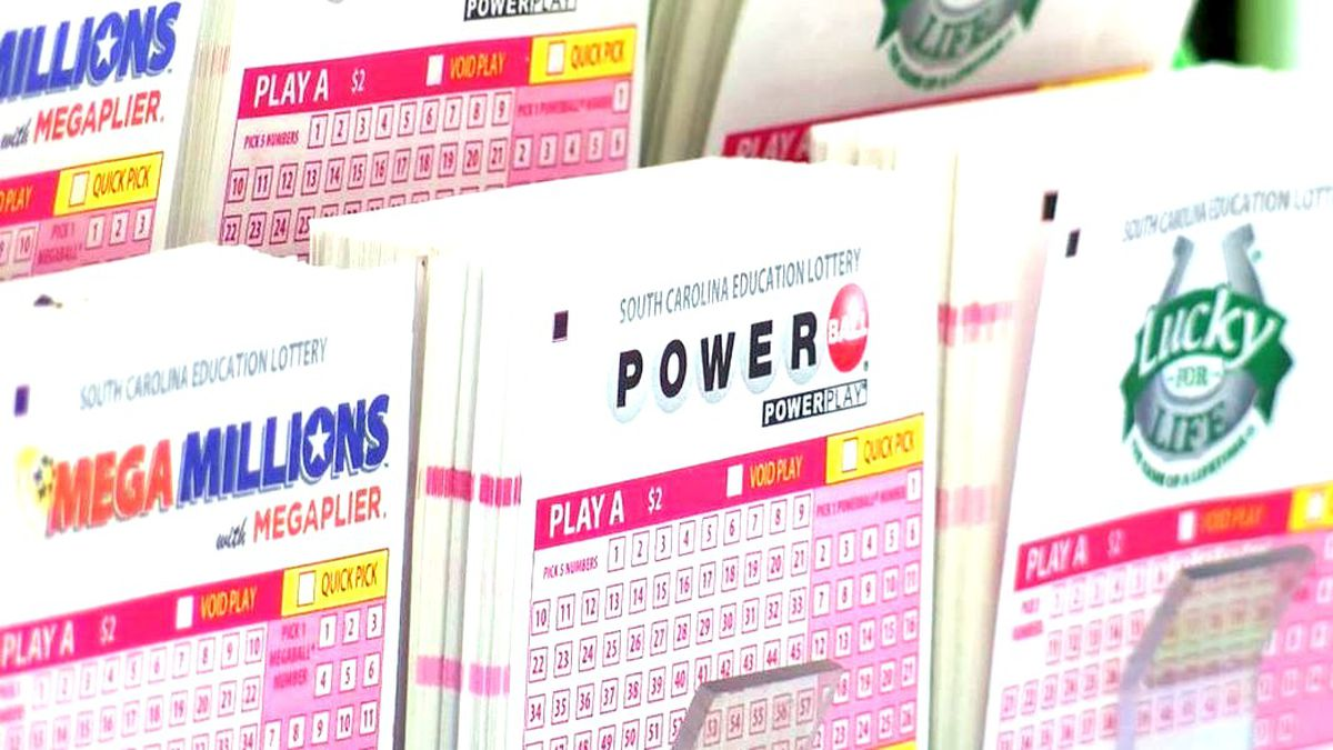 Lottery tickets including Mega Millions and Powerball seen at a South Carolina store.  Mega...