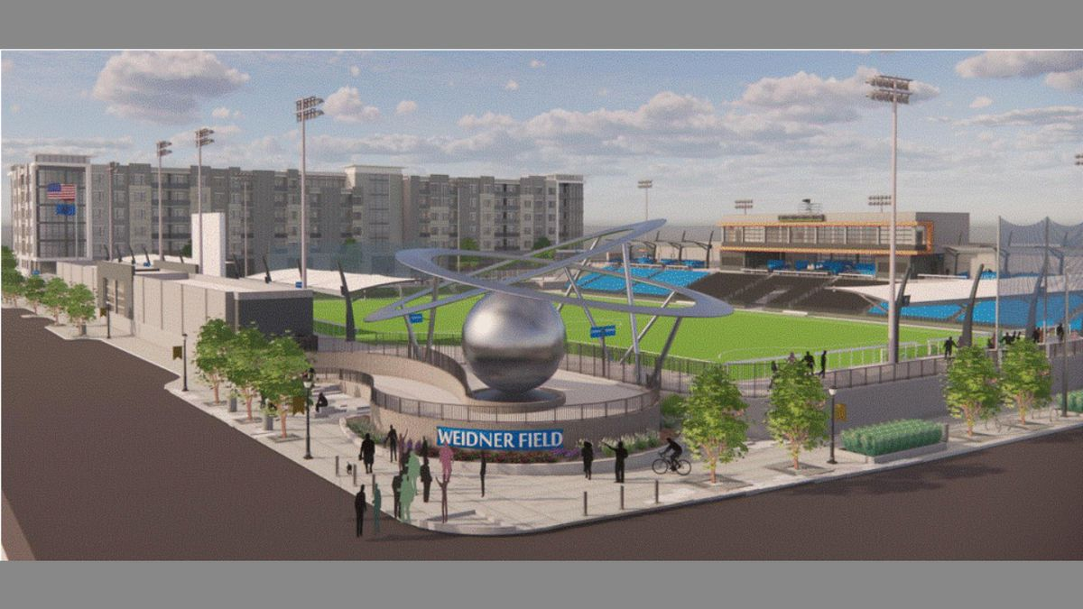 """Epicenter"""" sculpture at the entrance of the new Weidner Field in southwest Downtown Colorado..."""