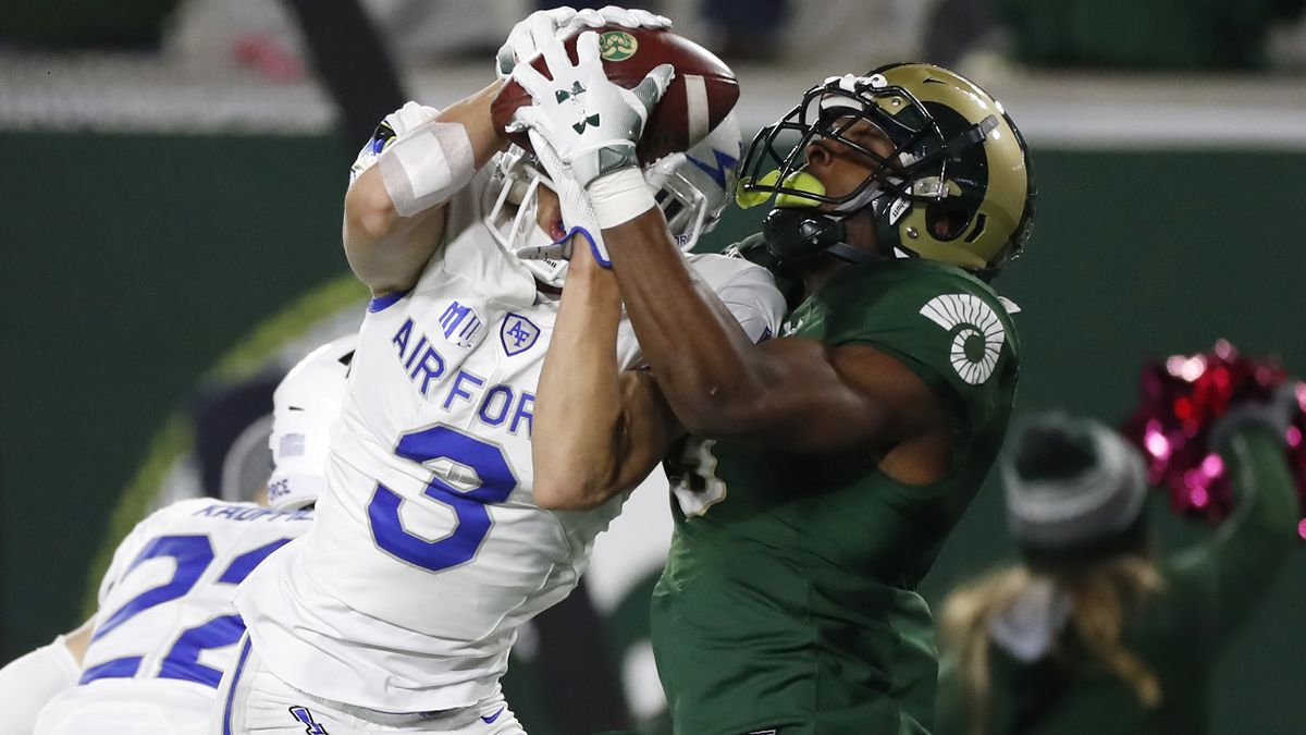 Colorado State wide receiver EJ Scott, right, pulls in a pass for along gain as Air Force defensive back Milton Bugg III defends in the second half of an NCAA football game Saturday, Nov. 16, 2019 in Fort Collins, Colo. Air Force won 38-21. (AP Photo/David Zalubowski)
