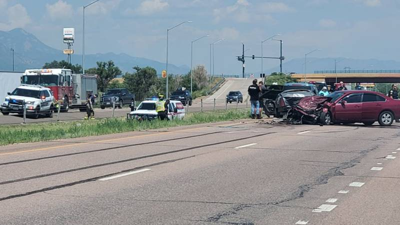 Crash on I-25 between Exit 125 - Ray Nixon Road and Exit 128 - US 85 Sautrday morning