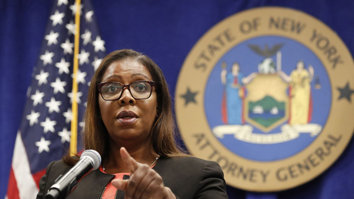 FILE- In this Aug. 6, 2020 file photo, New York State Attorney General Letitia James takes a...