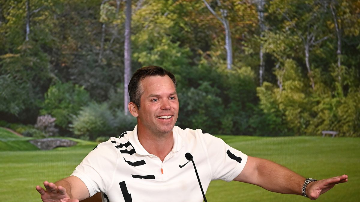 Paul Casey during a press conference during the Masters at Augusta National Golf Club,...