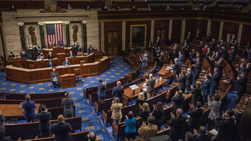 House Minority Leader Kevin McCarthy, R-Calif., speaks in the House Chamber after they...