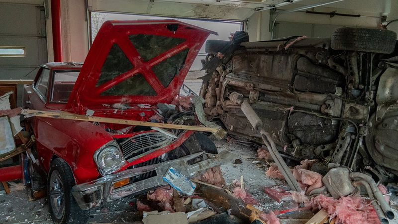 A vehicle smashed through a garage in Colorado on 5/10/21.