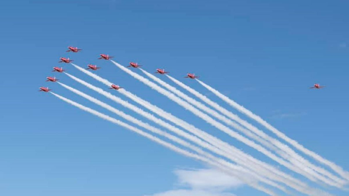 The Red Arrows.  Photo courtesy Peterson Air Force Base, 21st Space Wing