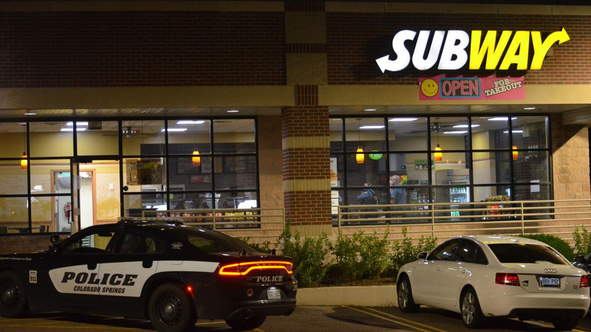 Police investigate a robbery at a Subway off Stetson Hills Boulevard and Powers Boulevard on Aug. 1, 2020.