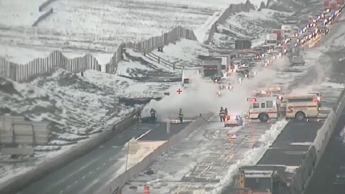 A car fire forced the closure of southbound I-25 on 10/27/20.