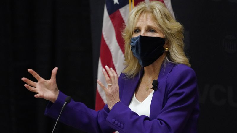 FILE - In this Wednesday, Feb. 24, 2021 file photo, first lady Jill Biden speaks during a visit...