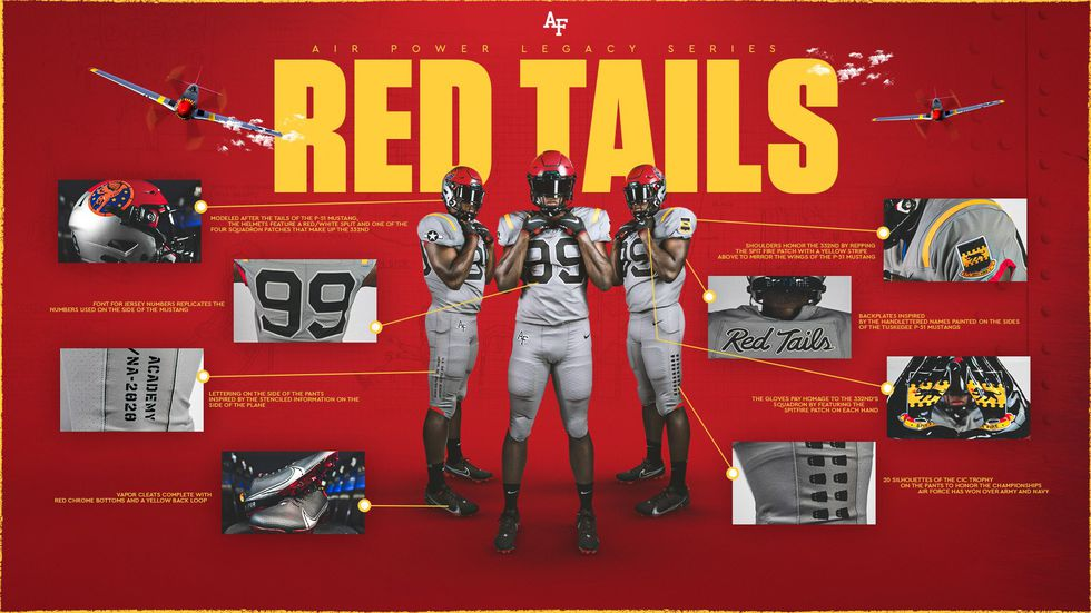 Air Force Football unveils new Red Tails uniform, honoring black pilots from World War II