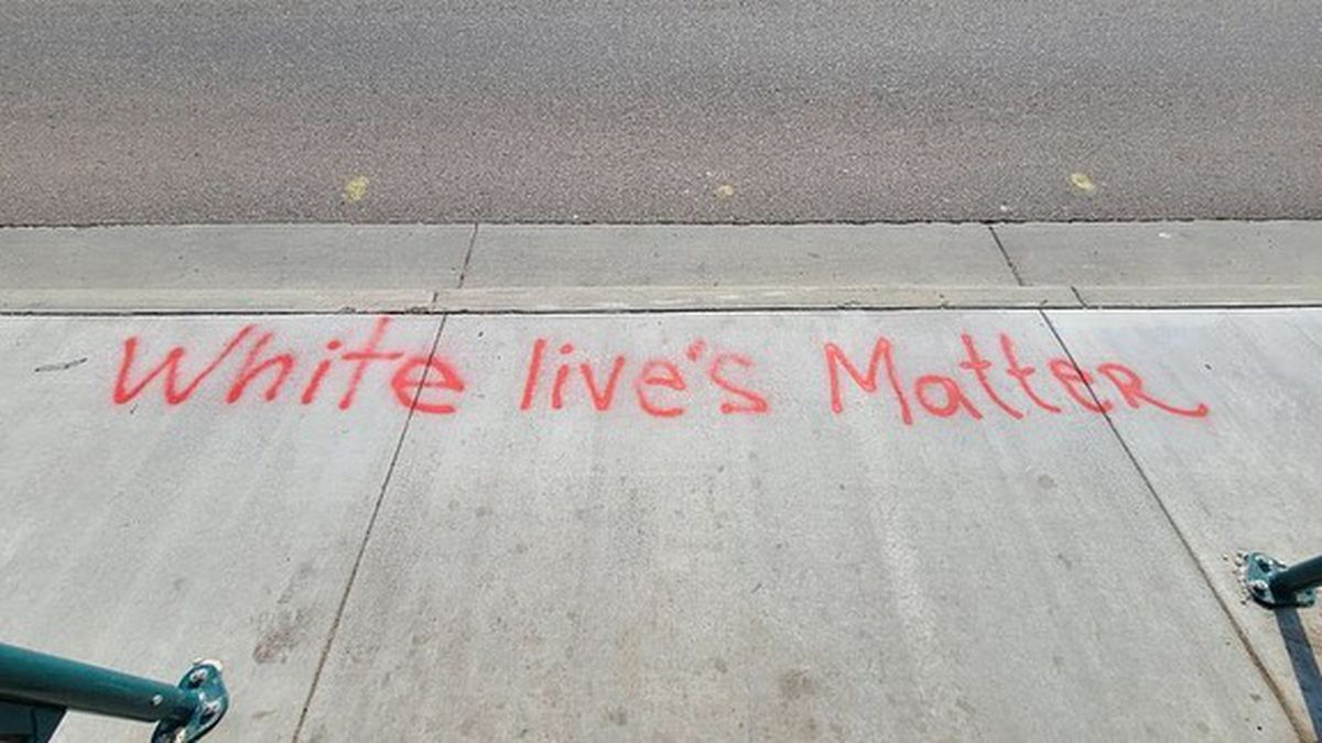 Graffiti found at a bus stop in Colorado Springs. The intersection of Kiowa and Wahsatch
