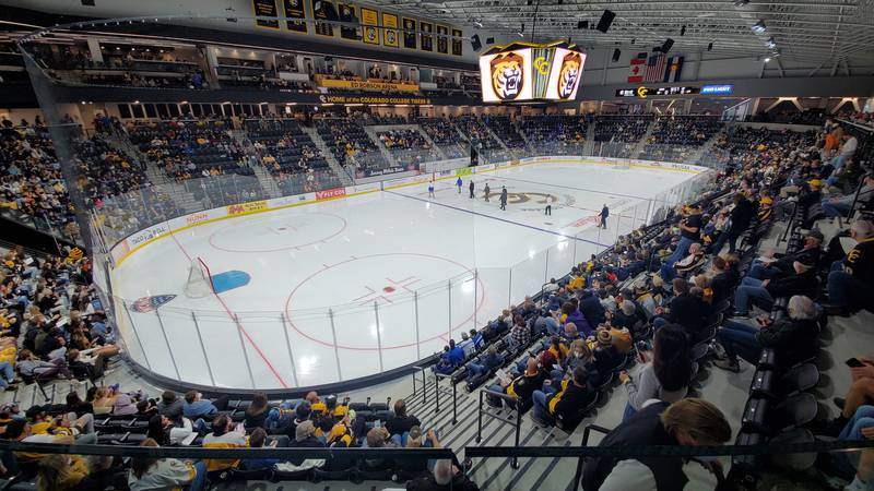 Ed Robson Arena, the new home of the Colorado College Tigers, is filled to capacity as CC hosts...