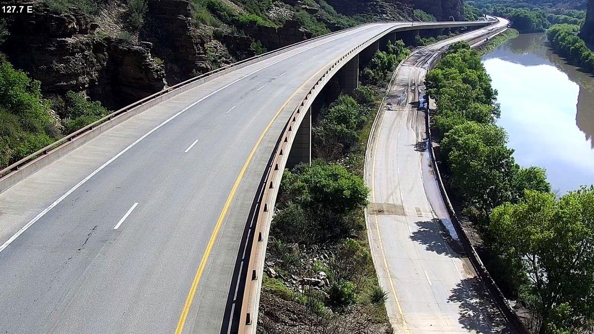 Daytime photo of a mudslide on I-70 in Glenwood Canyon on July 21, 2021.  The slide happened...