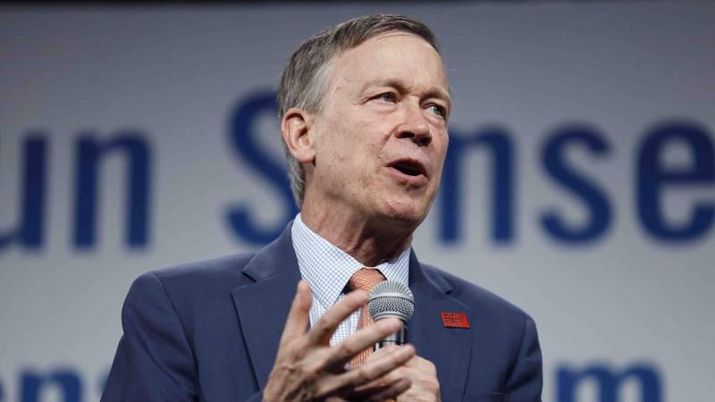 Democratic presidential candidate former Colorado Gov. John Hickenlooper speaks at the...