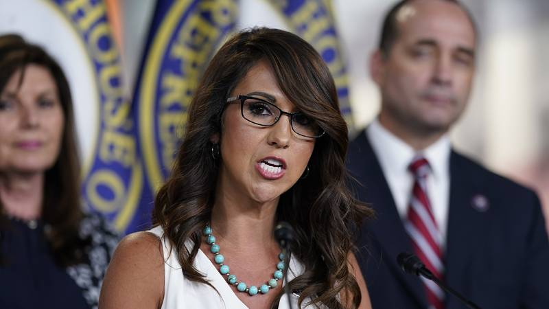 In this June 23, 2021 file photo Rep. Lauren Boebert, R-Colo., speaks at a news conference at...
