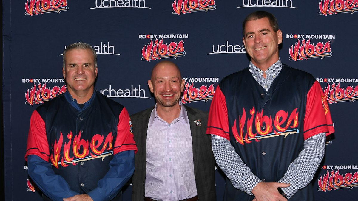 Vibes GM/Vice President Chris Phillips introduced new manager Dave Hajek (left) and pitching...