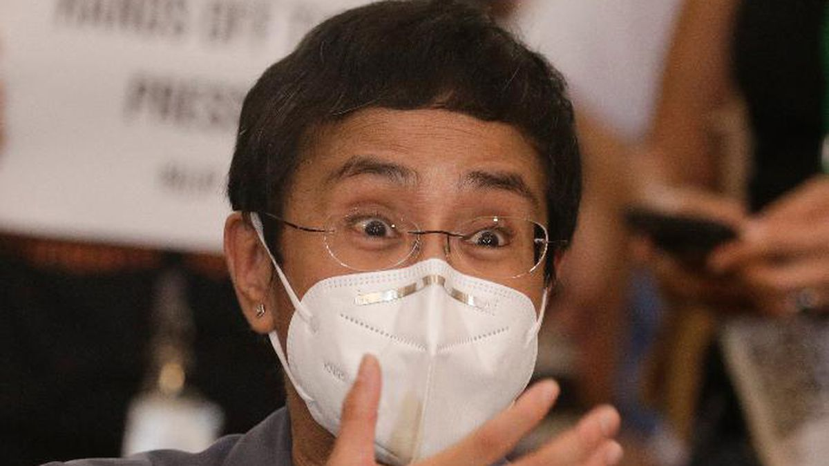 Rappler CEO and Executive Editor Maria Ressa gestures during a press conference in Manila, Philippines on Monday June 15, 2020. Ressa, an award-winning journalist critical of the Philippine president, her online news site Rappler Inc. and Santos were convicted of libel and sentenced to jail Monday in a decision called a major blow to press freedom in an Asian bastion of democracy. (AP Photo/Aaron Favila)