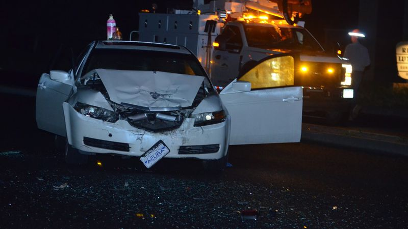Police say this car plowed into an officer's cruiser while they investigated a crash on May 29,...