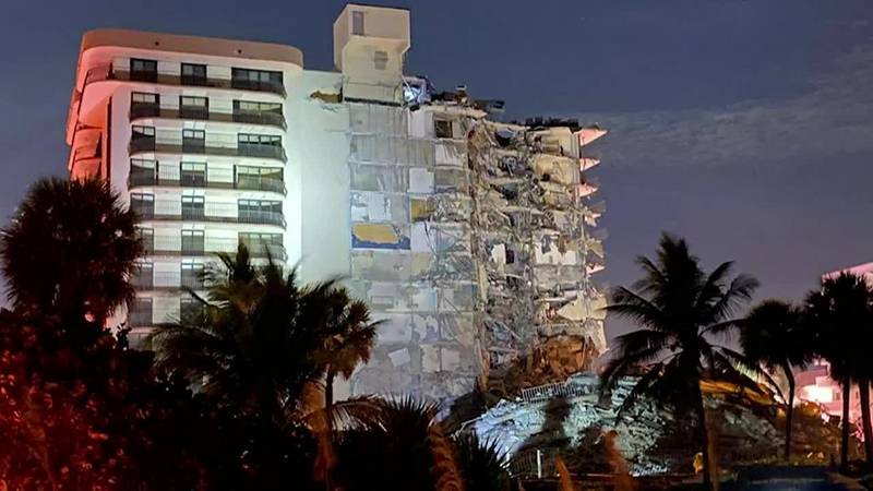 A building has partially collapsed near Miami.