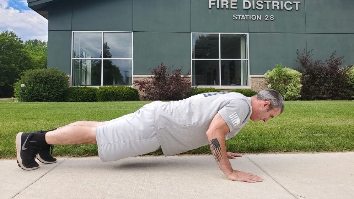 Nate Carroll is hoping to do more than 1.5 million push-ups in 12 months while raising money to benefit the Tunnel to Towers Foundation Fallen First Responder Home Program.  Photo courtesy: Tunnel to Towers Foundation.