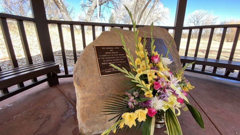 The memorial at Widefield Community Park commemorating the lives lost in the United Airlines...