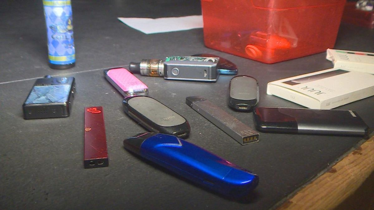 Vaping products displayed at an educational meeting at Palmer Ridge High School Jan. 15, 2020.